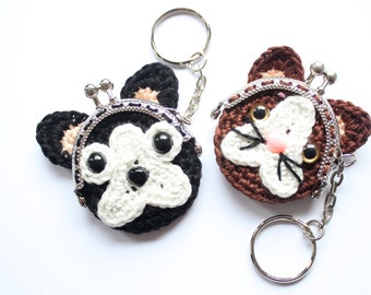 Bulldog and Cat coin purse pdf crochet pattern INSTANT DOWNLOAD
