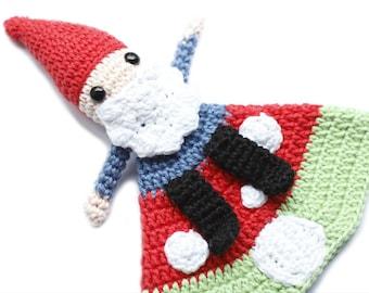 Gnome on his Mushroom Lovey crochet amigurumi pdf pattern INSTAND DOWNLOAD