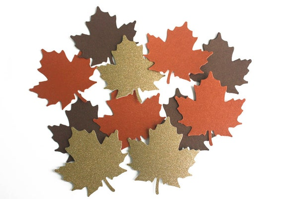 100 MAPLE LEAF METALLIC GREEN Die-Cuts Embossed Sequin Leafs for crafts cards