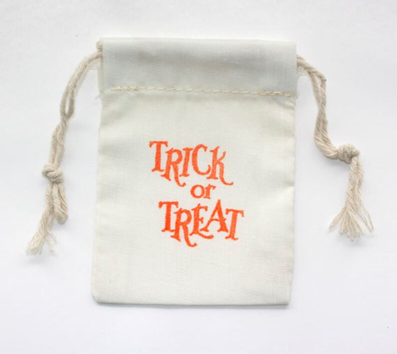 Halloween Party Trick Or Treat Favor Bags Cotton Muslin image 0