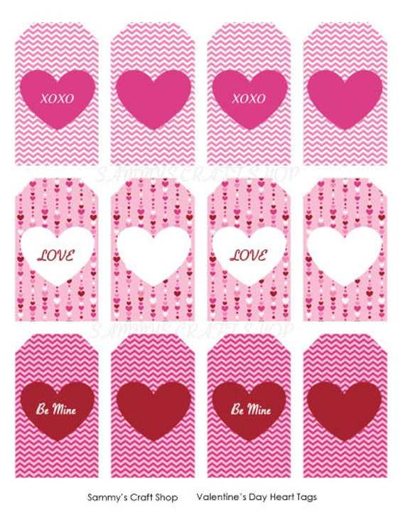 Printable Valentine Tags Heart Tags Instant Download Etsy