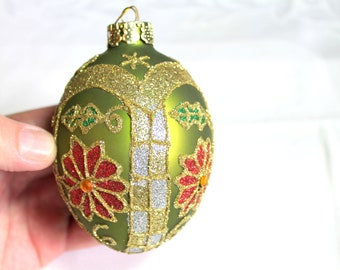 Red & Green Sparkle Egg Shaped Ornament