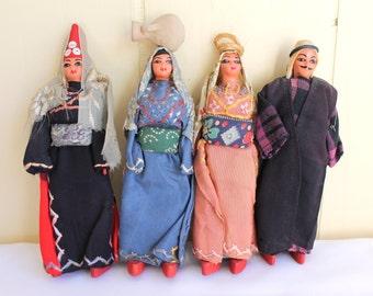 Vintage Handmade Folk Dolls ,Set of Four Primitive Dolls Dressed in Traditional Dress