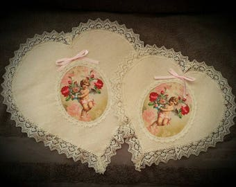 a doily pattern Angel lace finish heart shape