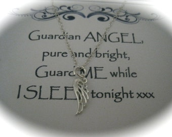 Sterling Silver Angel Wing Necklace with a message
