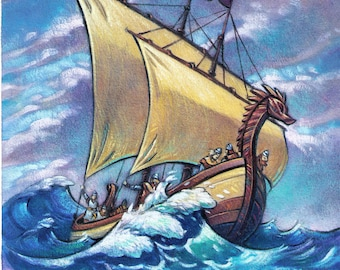 Viking Ship On A Stormy Sea