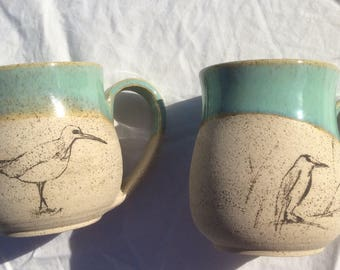 Mug // ceramic // birds // drawings // printing // Gift // Wedding gift