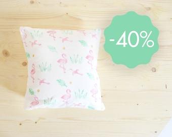 Cushion cover flamingo linocut 40x40 cm organic cotton