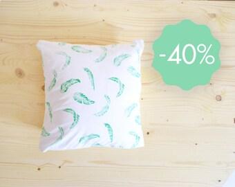 Cushion banana leaves pattern linocut 40x40 cm organic cotton