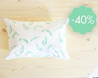 SALE! Cushion banana leaves pattern linocut 35x55 cm organic cotton