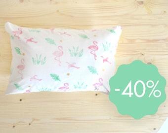 Cushion cover flamingo linocut 35x55 cm organic cotton