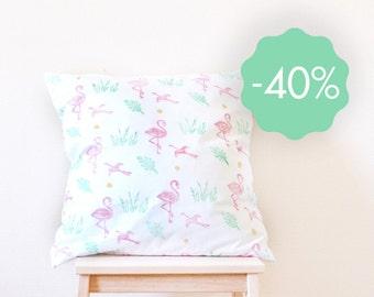 SALE! Cushion cover flamingo linocut 50x50 cm organic cotton