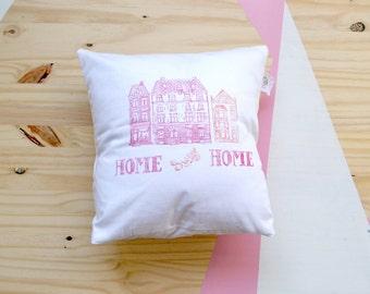 Cushion cover HOME SWEET HOME linocut 40x40 cm