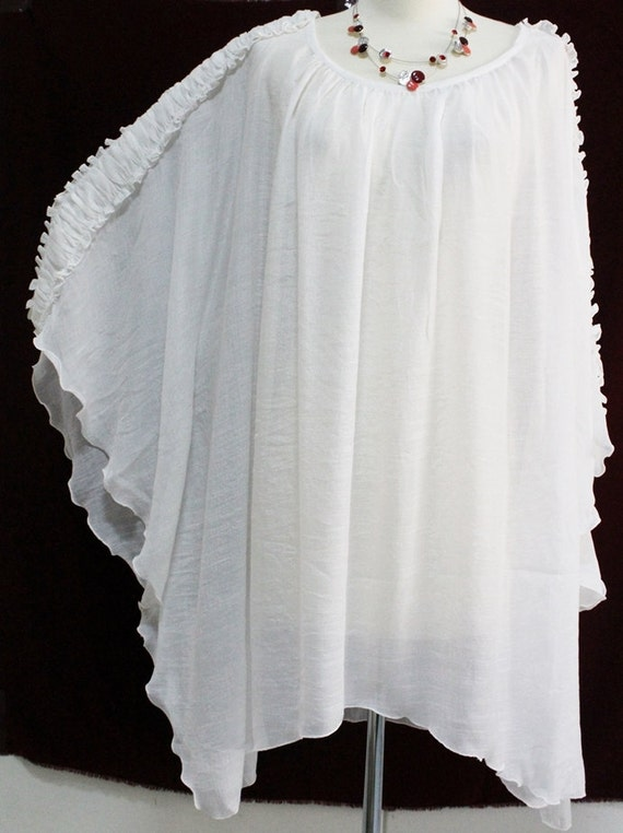 White Sheer See Thru Plus Size 2X 3X 4X 5X Lightweight Caftan Kaftan Top  Poncho Ladies Summer Blouse Asymmetrical Hem Ruffled