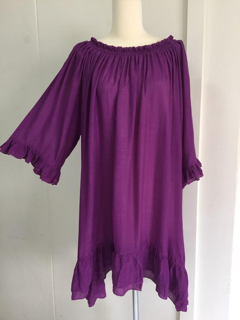 Purple Party Women Plus Size Off-the-shoulder Top 1x 2x 3x Ruffled Elastic Open Neckline Sleeve Light Cotton Blouse Sheer