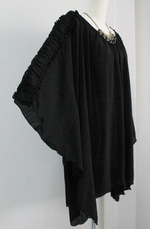 Free Shipping Plus Size 2X 3X 4X 5X Black Sheer Lightweight Cotton Top Poncho Tunic Summer Caftan Blouse Scoop Neckline Batwing Asym Hem