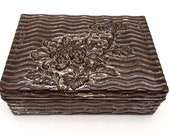 Antique Japanese Art Deco Style Repousse Box, Cedar Lined, Trinket Box, Jewellery Box, Gift Box, Keepsake Box