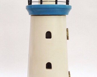 Seaside Home Décor, Vintage Lighthouse Key Case, Shabby Chic Wall Hanging, Beach Cottage Décor