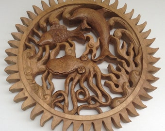 Hand Carved Oak Rondel, Sunburst and Sea Life, Octopus, Dolphin, Fish