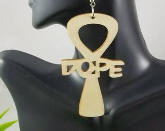 Dope Ankh- Handmade Wooden Earrings
