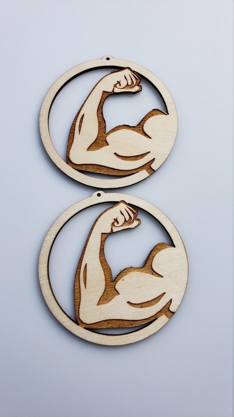 Unfinished Wooden Earrings Muscle Flex