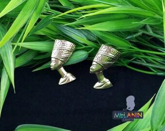 Nefertiti (Gold Plated)- Handmade Wooden Earrings