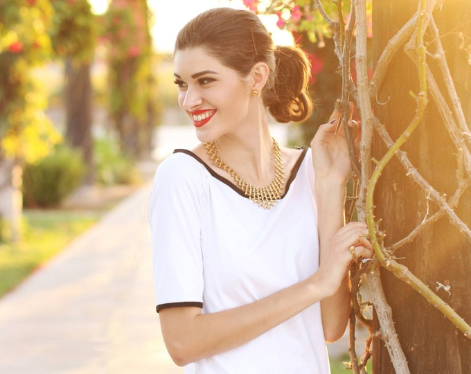 T-SHIRT BLACK or WHITE  colored piping, 3/4 Sleeves, Jersey, viscose, spandex, long, big Neck