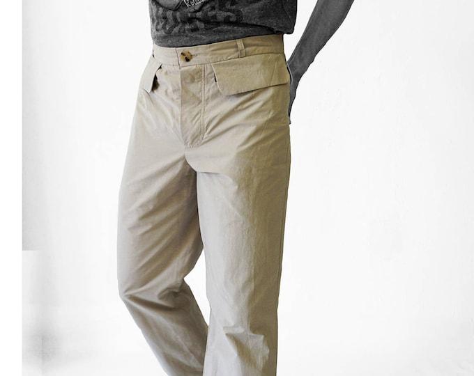 SALE! TROUSERS MEN with clap pockets, Man pants, cotton, handmade, uniform
