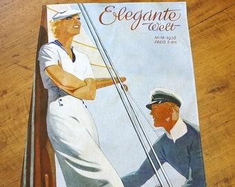"""ART DECO """"SAILOR"""" Tea Towel  Table Runner, Placemat, German Magazine """"Elegante Welt"""", Organic Cotton, Art Nouveau, digital print, 1930s"""