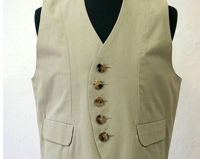 SALE! VEST WAISTCOAT Uniform, cotton, flap pockets, pastel, Vintage, Striped, Military, 18. century, 19. century