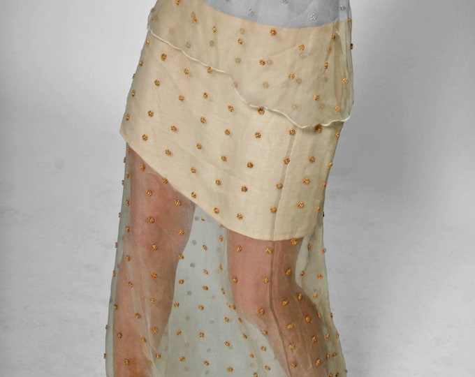 SALE! SKIRT embroidered, layered skirt, Lace, broderie, beige, sand, linen, handmade , Blouse, pearls, beads, wedding, bride, short, long