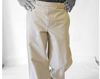 SALE! TROUSERS MEN without side seam, Man pants, watch pocket, cotton, handmade, uniform