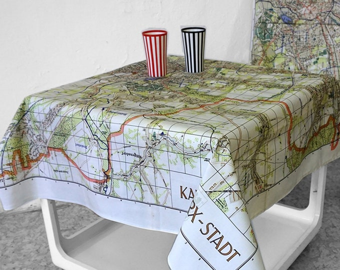 Karl- Marx- Stadt TABLECLOTH, Picnic Blanket, Beach Towel, Cotton, digital print, communism, 1960, G.D.R., socialism, Karl Marx
