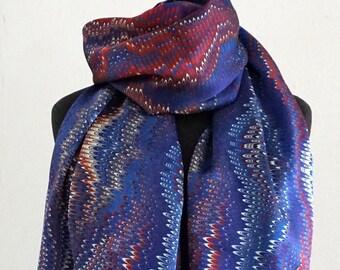 ART DECO SCARF Silk, Cotton, Art Nouveau, digital print, 1920 - 1940, red, blue, white