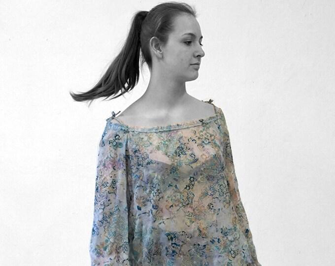 Silk Velvet burnout BLOUSE, Belt, off shoulder top, transparent, lace, jacquard, embroidery, lingerie, translucent top