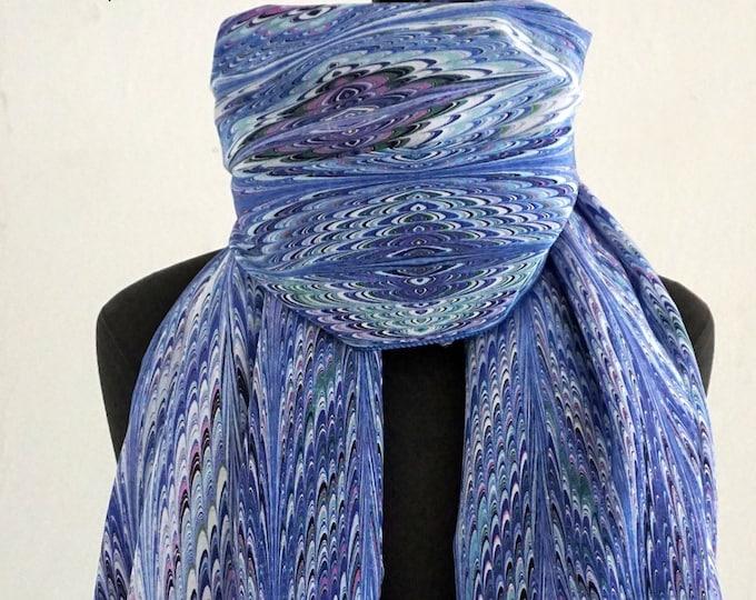 ART DECO SCARF Silk, Cotton, Art Nouveau, digital print, 1920s, 1930s, 1940s, marbling scarves, blue