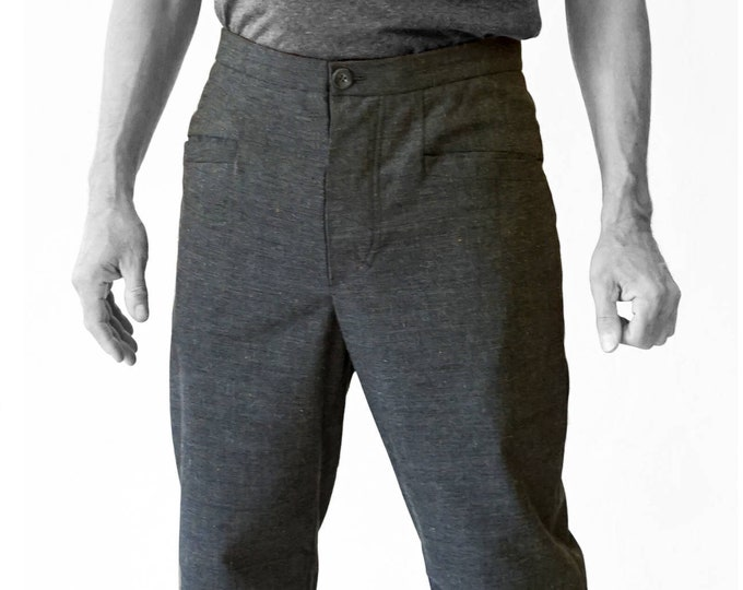 SALE! TROUSERS MEN with diagonale pockets, man pants, handmade, Wool, gray, G.D.R Vintage fabric