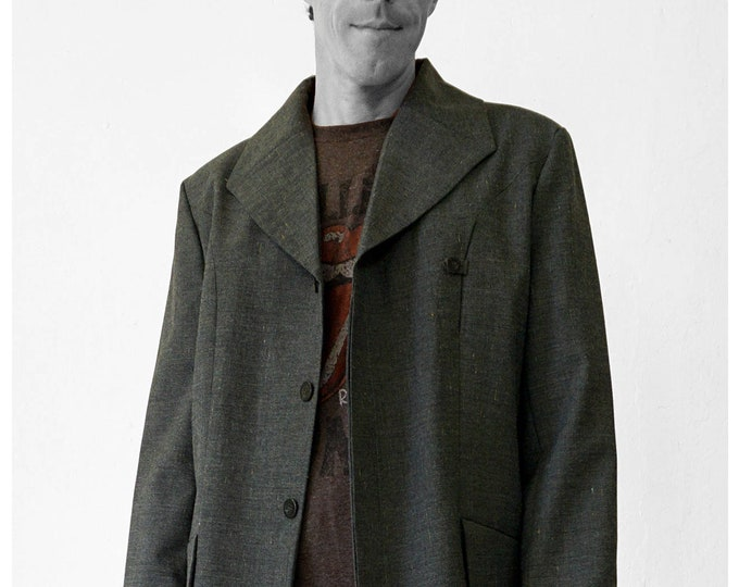 SALE! MAN JACKET with Square Collar, gray, blazer, Wool, G.D.R. Fabric lapel, hidden buttons, formal wear, classic
