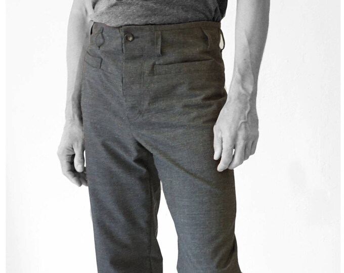 SALE! TROUSERS MEN with cut waistband, Men pants, handmade, Wool, gray, G.D.R Vintage fabric