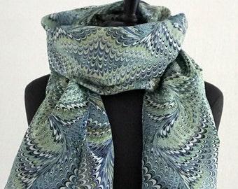 ART DECO SCARF Silk, Cotton, Marbling, Art Nouveau, digital print, 1920, 1930, 1940, green, blue