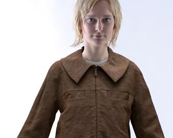SALE! CIMONO JACKET with Zipper, brown mottled, wool, fall/ winter