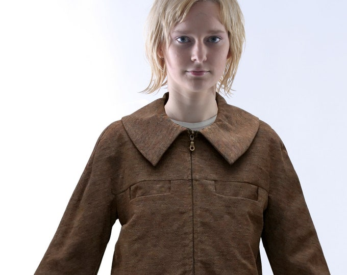 CIMONO JACKET with Zipper, brown mottled, wool, fall/ winter