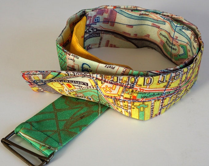 BERLIN FABRIC BELT, digital print, G.D.R., Berlin Plan, Map, 1960 years