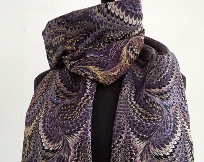 ART DECO SCARF Silk, Cotton, Art Nouveau, digital print, 1920s, 1930, 1940s, marbling scarf, lila, violet