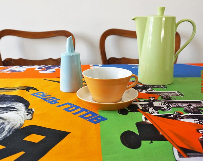 PIONEER Tablecloth, digital print, Soviet Union, workers posters, propaganda, 1920s to 1940s