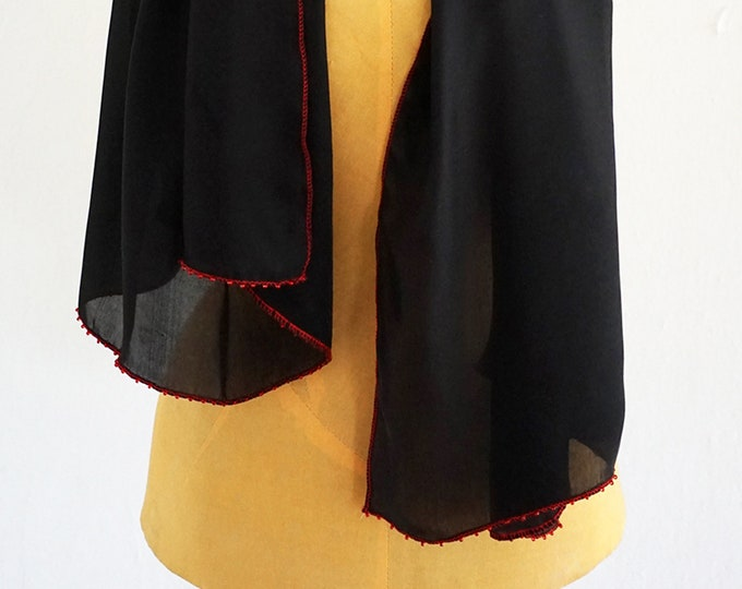 BLACK SILK SCARF embroidered with red Beads