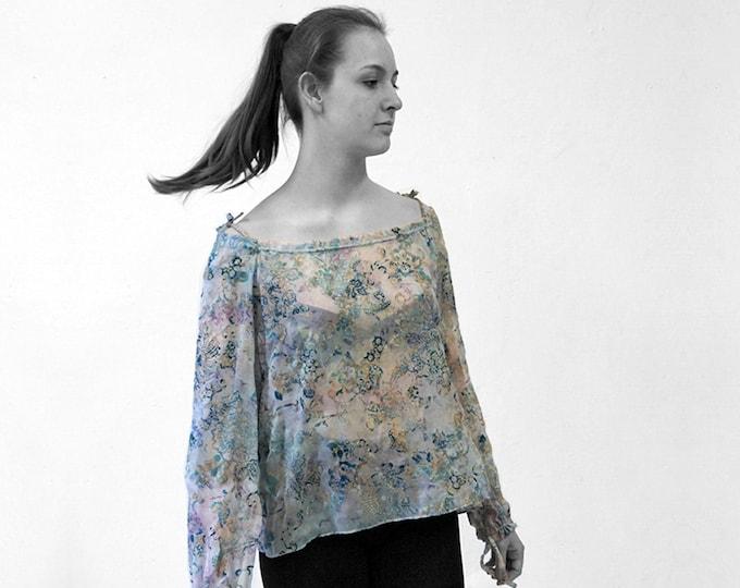 Silk Velvet burnout BLOUSE off shoulder top, transparent, lace, jacquard, embroidery, lingerie, translucent top