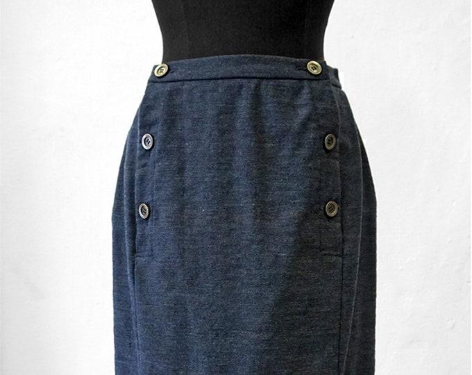 SALE! SKIRT double-breasted, 2-row, blue, slim, Wool, Winter, long, handmade, knee length