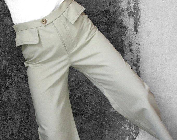 SALE! MEN 7/8 PANTS  cropped trousers, cotton, stripes, short, flap pockets, brown, green, ankle long, wide leg