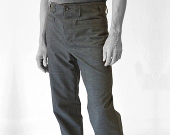 SALE! TROUSERS MEN, Wool, gray, G.D.R Vintage fabric